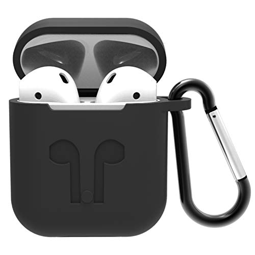 AirPods Case with Keychain, Shockproof AirPods Cover with Carabiner, Protective Silicone Skin Metal Hook Cover for AirPods Charging Case, Black
