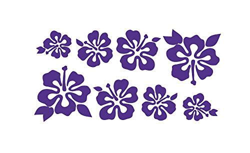 8 Hibiscus Flowers Assorted Sizes - Make Your Own Flower Lei Sticker Decal Hawaii Purple