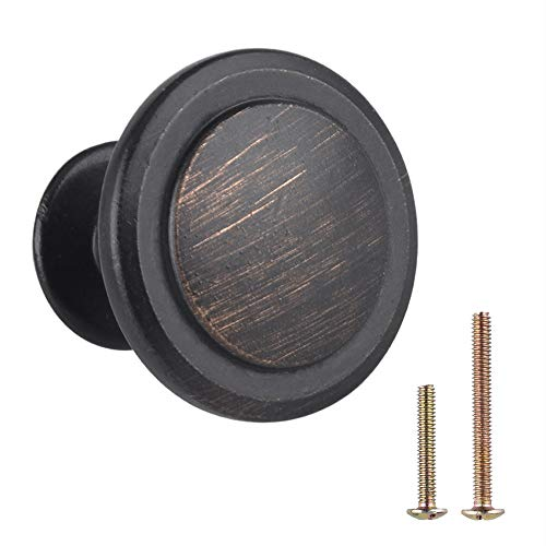 """Cabinet Knobs by Weaverbird, Traditional Round Cabinet Hardware 1-1/4"""" (Oil Rubbed Bronze 25 Pack)"""