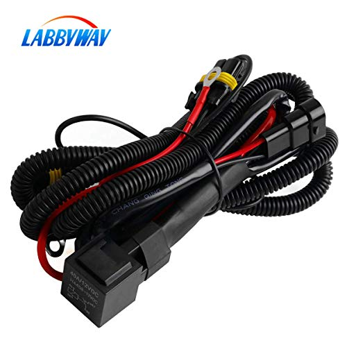 LABBYWAY Universal HID Conversion Kit Hydrogen Lamp Single Beam Relay Wiring Harness,Suitable for H1 H3 H7 H8 H9 H11 H16 5202 9005 9006 880 881
