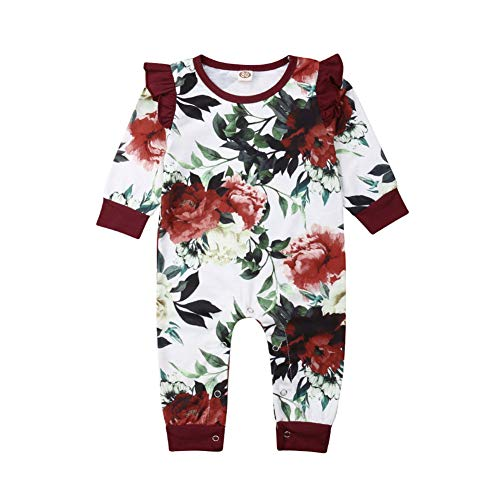 Newborn Baby Girl Floral Jumpsuit One Piece Ruffle Long Sleeve Flower Printed Romper Outfit Clothes (Red, 0-6 Months)