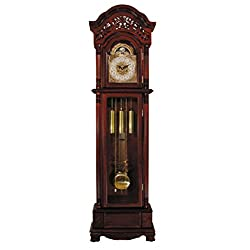 Major-Q 9001430 82 H Traditional Style Cherry Finish Key Wound Mechanical Movement Grandfather Floor Clock