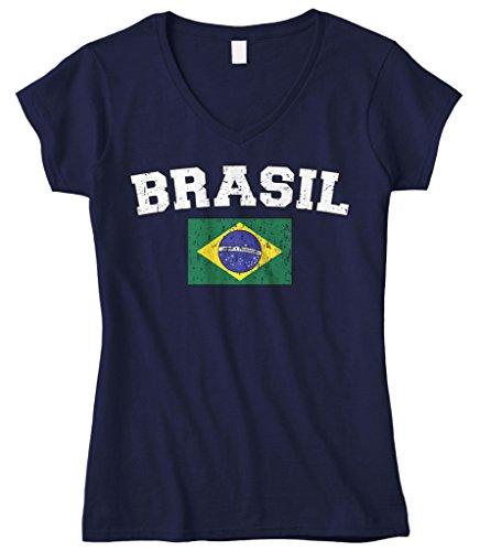 Cybertela Women's Faded Distressed Brasil Brazil Flag Fitted V-Neck T-Shirt (Navy Blue, ()