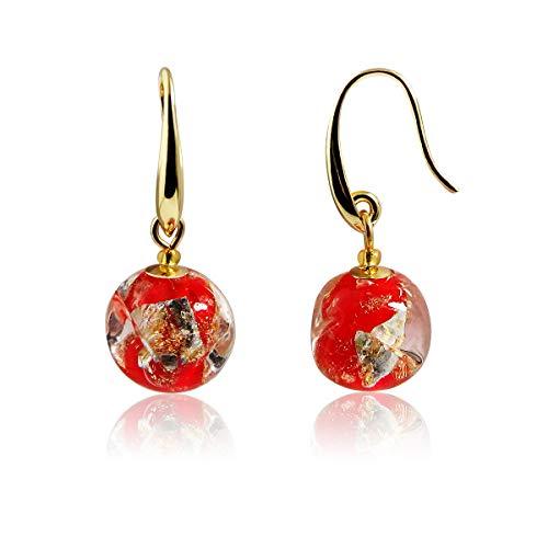 Vintage Mom Red Handmade Murano Glass Round Ball Dangle Earrings Golden Plated
