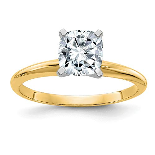 14ky 2.0ct. 7.5mm Colorless Moissanite Cushion Solitaire Ring, Size: 7, 14 kt Yellow Gold ()