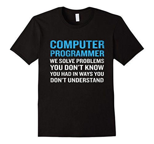 Men's Computer Programmer Job Definition T-Shirt Funny Quote Geek Medium Black