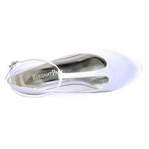 Closed Heel Wedding Shoes ElegantPark Satin Toe Pumps White T Chunky Evening Dress Women Strap 6vq5qA