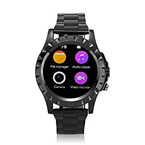 """Vamery T2 1.22"""" Round Dial Screen 0.3MP Camera Waterproof Bluetooth Smart Watch for Android iPhone IOS LG Smartphones (Stainless Steel Band & Black) by Vamery"""