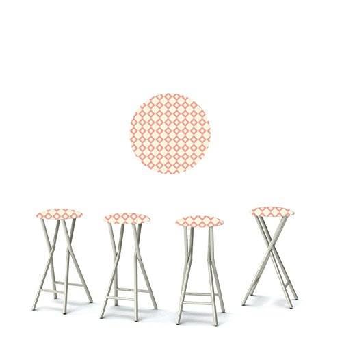 Cheap Best of Times Diamonds are Forever Padded Bar Stools (Set of 4), Small, Peach/Cream