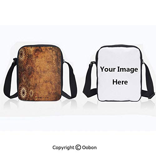 (Multipurpose Crossbody Bag For Sports Unisex Teen Aged Old Texture Print Artistic Floral Motifs Vintage Upholstery Concept Brown Light Brown Tan Anti-Theft Travel Hiking Polyester Water Proof Bag)