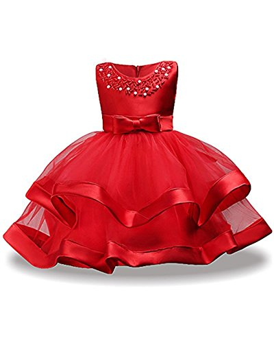 - Bridesmaid Dresses for Little Girls Size 7-9 Wedding Christmas Party Pageant Flower Dress for Kids 8T Summer Holiday Ball Gowns Sleeveless Knee Length Princess Girl Dress Pearl Beaded (Red 32)
