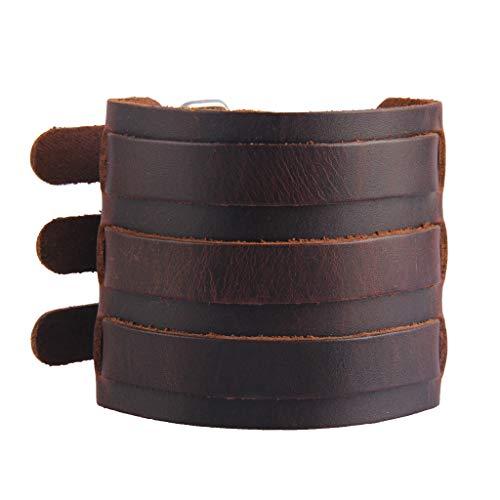 AZORA Punk Leather Cuff Bracelet Adjustable Wide Leather Belt Bracelets Arm Cuff Gothic Leather Wristbands Rock Jewelry for Men, Boy, ()