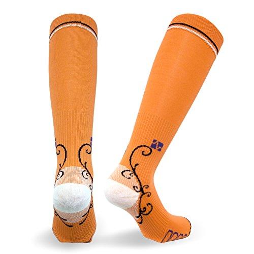 Vitalsox Italian Graduated Compression Socks (1 Pair- Fitted) for Women Best for Running, Travel, Yoga, Nurses, Maternity Pregnancy, Orange, Medium