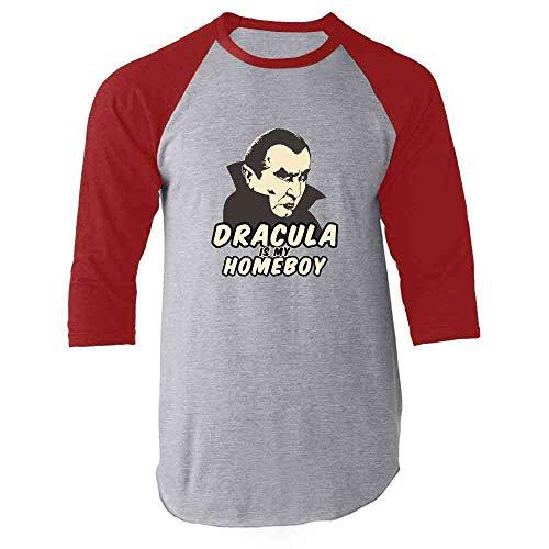 Pop Threads Dracula Is My Homeboy Halloween Costume Vampire Red L Raglan Baseball Tee Shirt ()