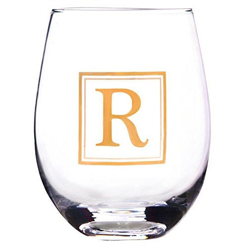 Elegant Home Personalized Gift 19 Ounce Stemless Wine Glass,unique Novelty Monogrammed Letter, (R) (Wine Personalized Monogrammed)