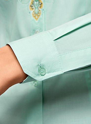 6552e Coton Collection en Femme oodji Chemisier thnique Vert avec Imprim vZwqzAdxqn