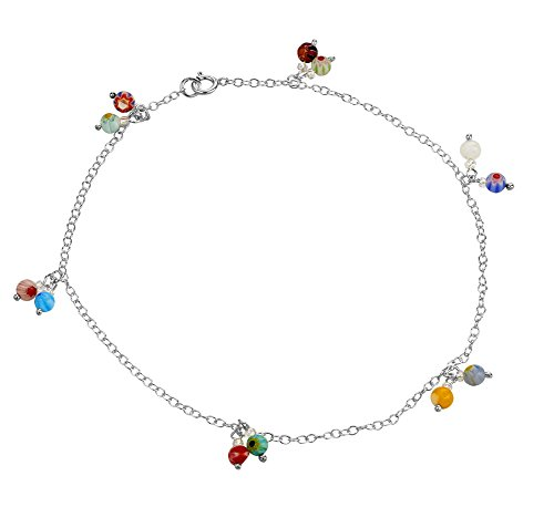 925 Sterling Silver Multi Colored Glass Dangle Beads Anklet, Foot & Anklet Jewelry, 10 inches (Silver Colored Anklet Multi)
