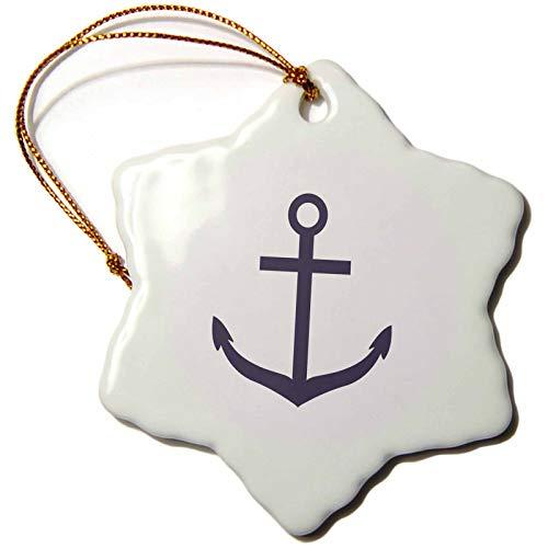 3dRose PS Chic - Nautical Purple Anchor - 3 inch Snowflake Porcelain Ornament (ORN_202356_1) ()