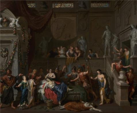 - Oil Painting 'The Death Of Cleopatra, Circa 1700 - 1710 By Gerard Hoet' Printing On Perfect Effect Canvas , 16x19 Inch / 41x49 Cm ,the Best Laundry Room Decor And Home Decoration And Gifts Is This Cheap But High Quality Art Decorative Art Decorative Prints On Canvas