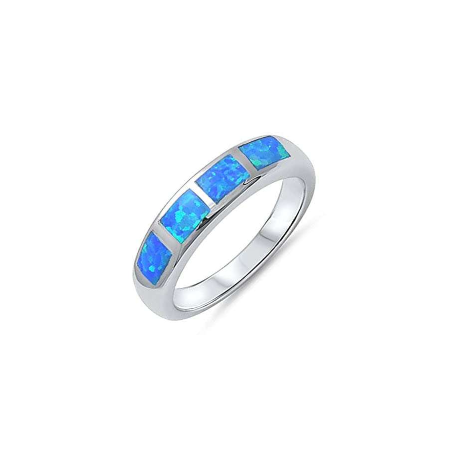 Lab Created Blue Opal Inlay .925 Sterling Silver Band Women Promise Ring Gift for Her Sizes 5 10