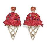 Statement Drop Earrings for Women - Bohemian Beaded Round Earrings, Idea Gift