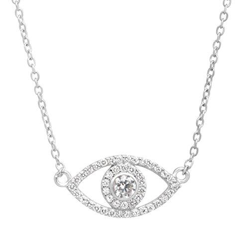 Evil Eye Necklace with Cubic Zirconia in Sterling Silver by Finecraft