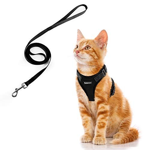 Cat Harness and Leash Set for Walking, Escape Proof with 59 Inches Leash - Adjustable Soft Vest Harnesses for Large Cats, Big Cat Leash Harness with Reflective Strips & 1 Metal Leash Ring, Black