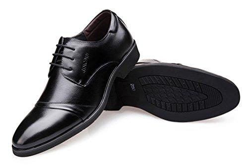SHOWHOW Herren Spitz Zehe Derby Klassischer Schnürhalbschuh Anzugschuhe Schwarz 41 EU m1UtH