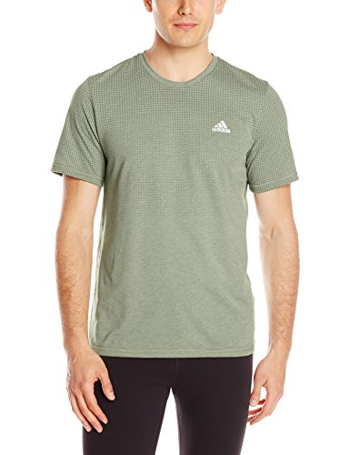 adidas Performance Men's Aeroknit Short Sleeve Tee, Base Green/Colored Heather, Small