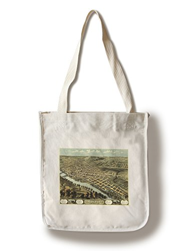 (Lafayette, Indiana - Panoramic Map (100% Cotton Tote Bag - Reusable))