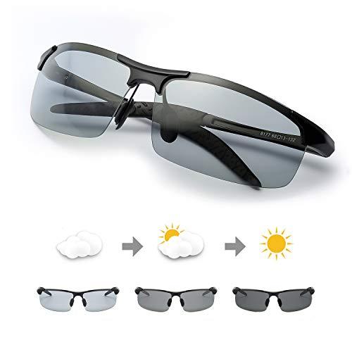 TJUTR Men's Photochromic Sunglasses with Polarized Lens for Outdoor 100% UV Protection, Anti Glare, Reduce Eye Fatigue (Metal Black 2 Rectangular Frame/Grey Photochromic Polarized ()