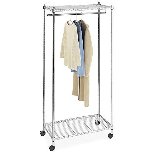 Space Paths Supreme Garment Rack,Heavy Duty Rolling Garment