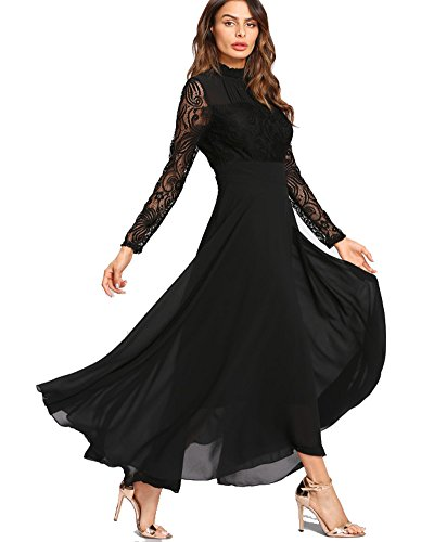 Aox Womens Classy Long Sleeve Lace A Line Long Maxi Party Bridesmaid Swing Dress (2XL, Black) Bridesmaid Womens Long Sleeve