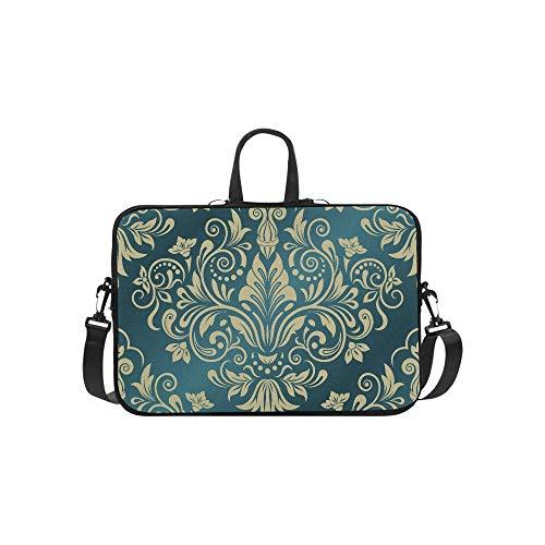 Euro Sham Navy Paisley Floral India Pattern Briefcase Laptop Bag Messenger Shoulder Work Bag Crossbody Handbag for Business Travelling