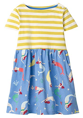 Fiream Girls Dresses Short Sleeve Summer Cotton Striped Cute Mermaid Print Pattern Casual Dress for Toddle(SY039,6T/6-7YRS) ()