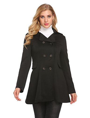 ANGVNS Women's Classical Slim Notched Lapel Double Breasted Trench Pea Coat