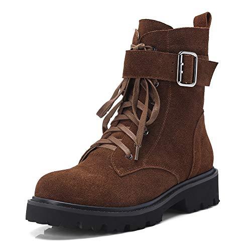 Martin Calidad Cordones Botines Primera Gamuza Piel Con Mujer 2018 Hoesczs Vaca Botas Marca Brown Zapatos De qROOtg