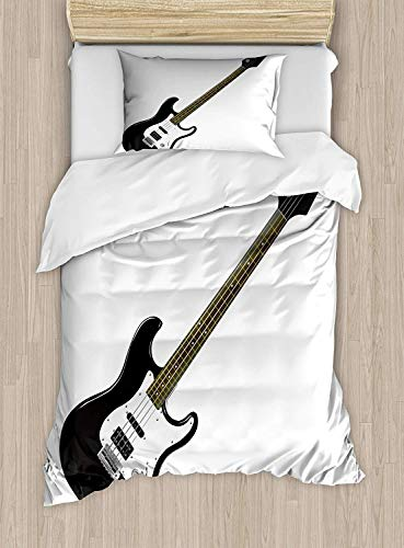 Big buy store Guitar Duvet Cover,Bass Four String Rhythm Music Rock and Roll Element Detailed Illustration, 4 Piece Bedding Set with 2 Pillow Sham,Black White Caramel(King