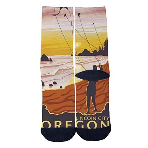 Men's Women's Custom Oregon Lincoln City beach Socks 3D Print Novel Creative Casual Crew Socks Black for $<!--$14.55-->
