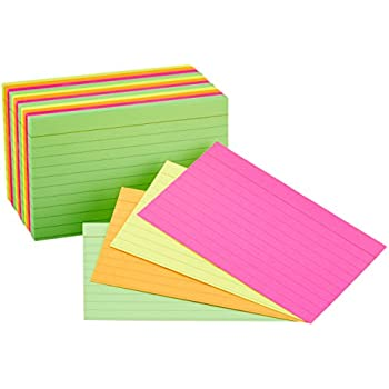 AmazonBasics Ruled Index Cards, Assorted Neon, 3x5-Inch, 300-Count