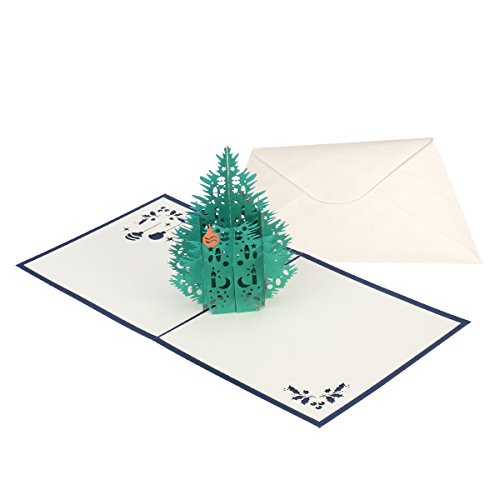 SUPVOX 3D Card Pop Up Card Greeting Cards Pine Tree with Envelope fpr Wedding Birthday Christmas 15x15cm (Blue)