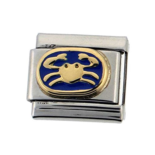 Stainless Steel 18k Gold Cancer Zodiac Sign Charm for Italian Charm Bracelets