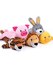 Nocciola 5 PCS 3D Dog Squeaky Toys with Double Layer Reinforced Fabric, Durable Plush Dog Toys, No Stuffing Body Dog Toy Set for Small to Large Dogs
