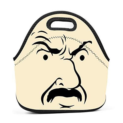 TADAWZD Insulated Serious Lunch Bag Reusable Neoprene Handbag with Strap Zipper Unisex -