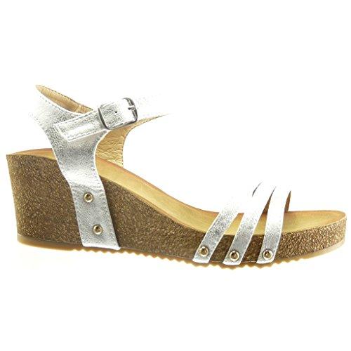 Angkorly - Zapatillas de Moda Sandalias zapatillas de plataforma abierto mujer tachonado corcho brillantes Talón Plataforma 6 CM - Plata