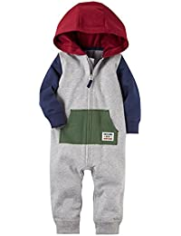 Baby Boys French Terry Hooded Romper Jumpsuit, Tricolor,...