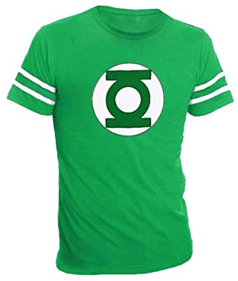 The Green Lantern Logo With Striped Sleeves Green Adult T Shirt Tee