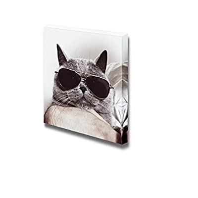 Canvas Prints Wall Art - Funny Gray British Cat in Sunglasses | Modern Wall Decor/Home Decoration Stretched Gallery Canvas Wrap Giclee Print & Ready to Hang - 16