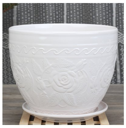 Ceramic Home/ Garden Modern White Flower Planter Pot with Saucer/ Tray - Outside Rose Figurine Design