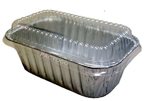1 lb. Aluminum Foil Mini-Loaf/Bread Baking Pan w/Clear Low Dome Lid